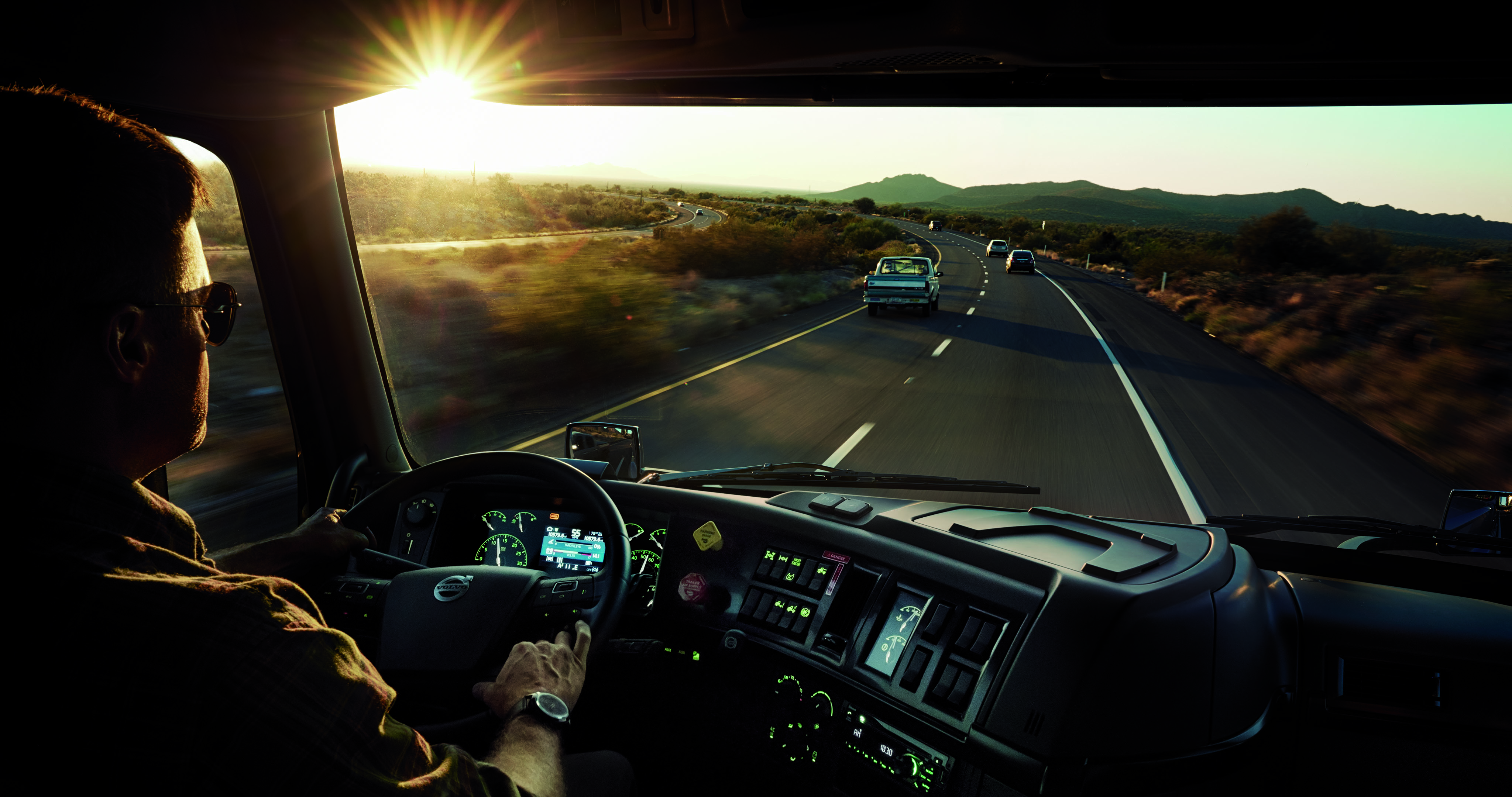 driving a Volvo truck