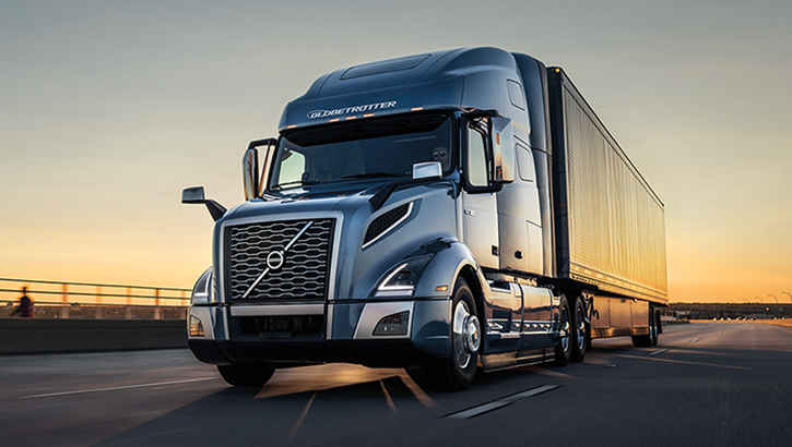 Volvo Truck VNL on a highway during sun set -Covid-19-image1