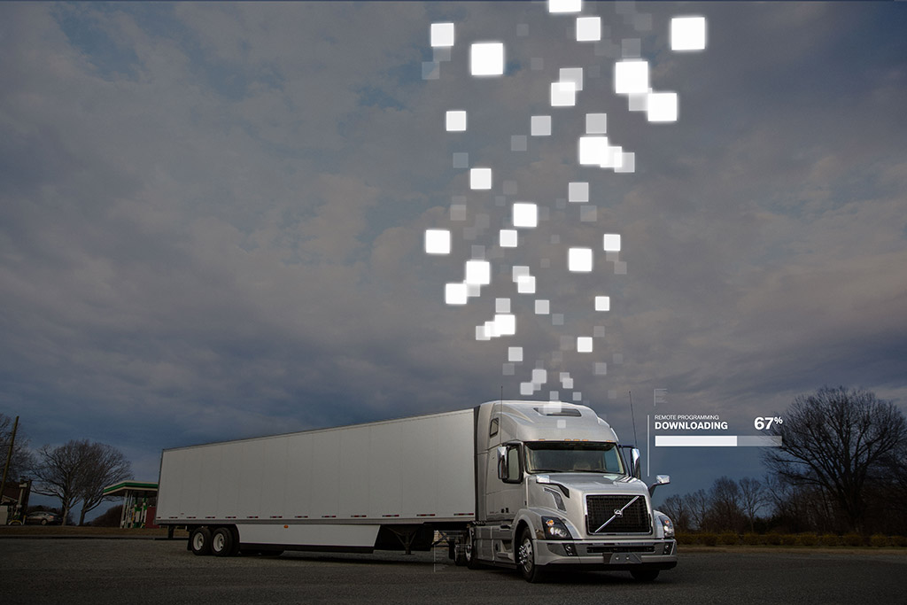 a Volvo truck downloading updates remotely