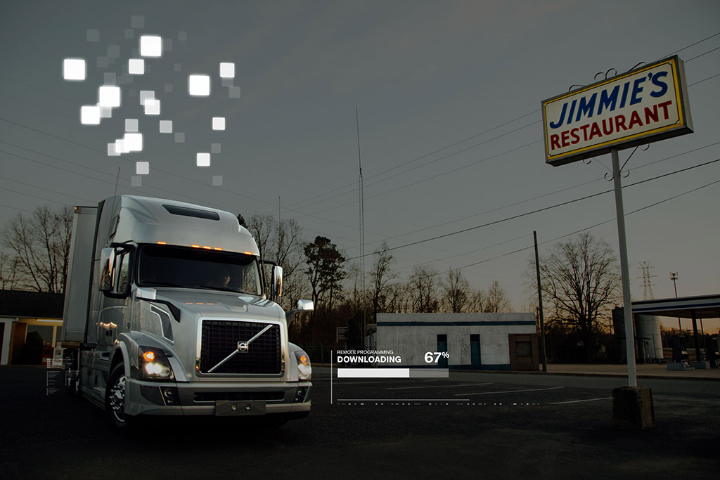 a Volvo truck downloading updates remotely at Jimmie's restaurant