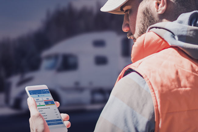 Volvo Truck Driver using Geotab Telematics App