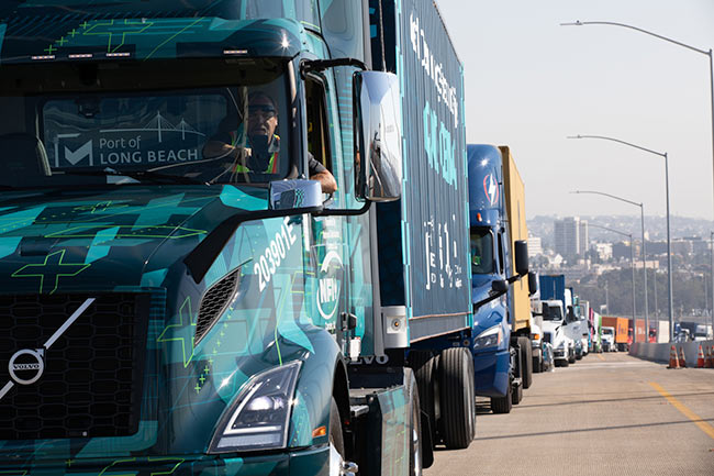 POLB VNR Electric Lead Truck Parade of Clean Vehicles Volvo Trucks