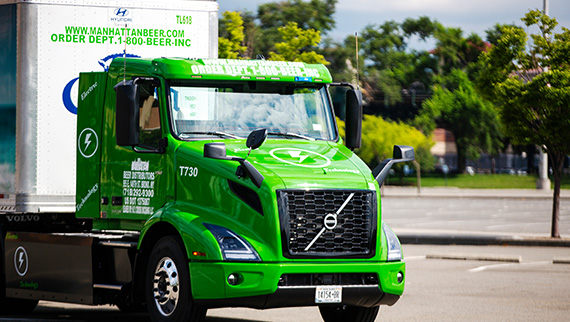 Volvo VNR Electric Delivery on the road