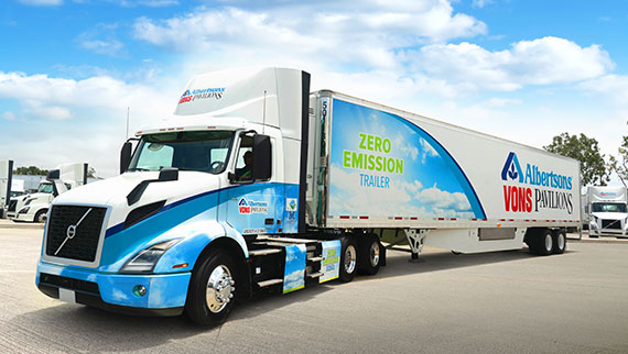 Volvo VNR Electric paired with an electric-powered transport refrigeration